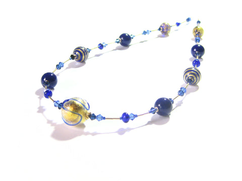 Murano Glass Cobalt Blue Long Gold Necklace JKC Murano