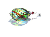 Genuine Murano Blown Glass Colorful Disc Silver Pendant JKC Murano