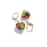 Murano Glass Colorful Heart Gold Earrings, Gold Leverbacks JKC Murano