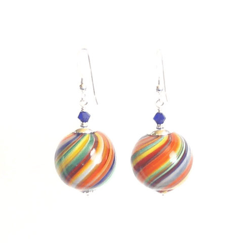 Murano Mouth Blown Colorful Ball Earrings