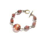 Murano Glass Coral Copper Gold Bead Bracelet JKC Murano
