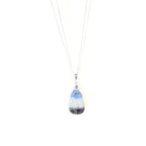 Murano Glass Blue White Teardrop Pendant JKC Murano