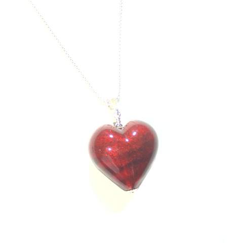 Murano Glass Dark Pink Heart Pendant, Genuine Italian Glass Jewelry - JKC Murano