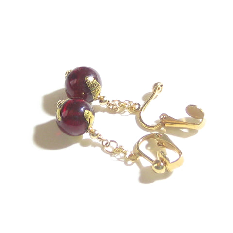 Murano Glass Red Ball Gold Earrings JKC Murano