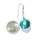 Murano Glass Dark Sea Green Disc Silver Earrings - JKC Murano