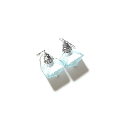 Murano Glass Aquamarine Bi-cone Sterling Silver Earrings, Leverbacks - JKC Murano - 1