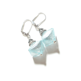 Murano Glass Aquamarine Bi-cone Sterling Silver Earrings, Leverbacks - JKC Murano - 4