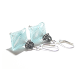 Murano Glass Aquamarine Bi-cone Sterling Silver Earrings, Leverbacks - JKC Murano - 6
