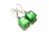 Venetian Glass Emerald Square Gold Earrings, Gold Filled Leverbacks JKC Murano