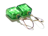 Venetian Glass Emerald Square Gold Earrings, Gold Filled Leverbacks - JKC Murano - 7