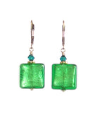Venetian Glass Emerald Square Gold Earrings, Gold Filled Leverbacks - JKC Murano