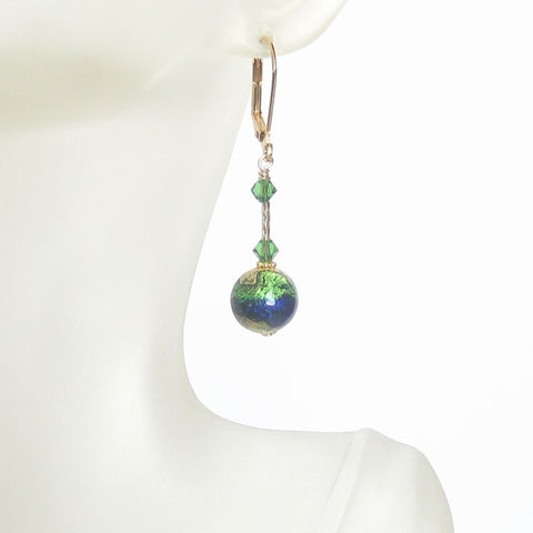Murano Glass Cobalt Blue Emerald Green Ball Gold Earrings