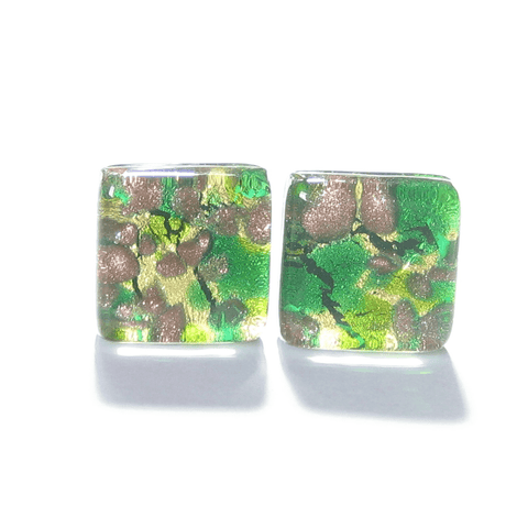 Murano Glass Emerald Green Gold Square Cuff Links JKC Murano