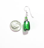 Murano Glass Emerald Green Tube Sterling Silver Earrings JKC Murano