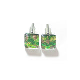 Murano Glass Emerald Green Gold Square Cuff Links - JKC Murano