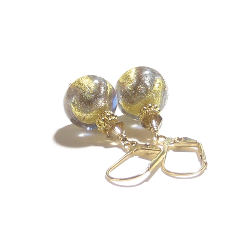Italian Murano Glass Brown Gold Earrings