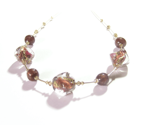 Murano Glass Chunky Pink Brown Nugget Gold Necklace JKC Murano
