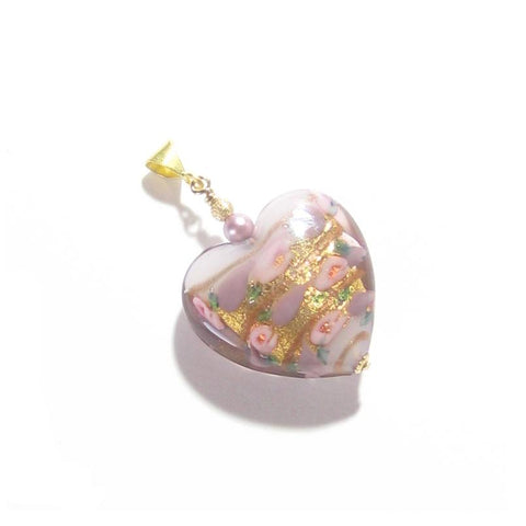 Murano Glass Pale Pink Rose Heart Gold Pendant, Italian Glass Jewelry