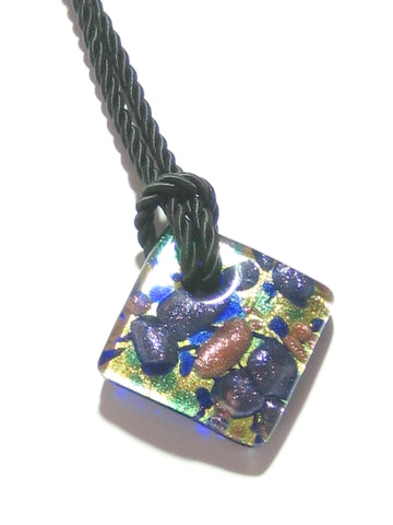 Murano Fused Glass Cobalt Blue Gold Diamond Pendant, Marked Murano JKC Murano