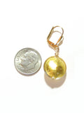 Murano Glass Disc Clear Gold Earrings JKC Murano