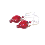 Venetian Glass Large Red Twist Sterling Silver Earrings, Murano Jewellery - JKC Murano - 5