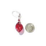 Venetian Glass Large Red Twist Sterling Silver Earrings, Murano Jewellery - JKC Murano - 4