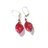 Venetian Glass Large Red Twist Sterling Silver Earrings, Murano Jewellery - JKC Murano - 3