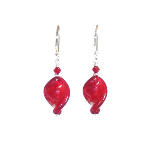 Venetian Glass Large Red Twist Sterling Silver Earrings, Murano Jewellery - JKC Murano - 1
