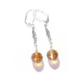 Swarovski Copper Crystal Ball Sterling Silver Drop Earrings JKC Murano