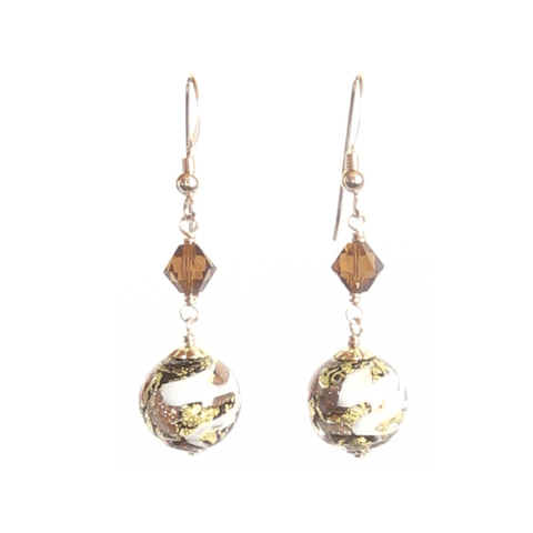 Murano Glass Brown Copper Ball Gold Earrings, Dangle Clip Ons JKC Murano
