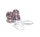 Murano Glass Black Purple Ball Sterling Silver Earrings JKC Murano