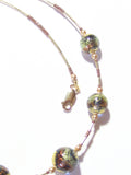 Murano Glass Brown Fall Colors Ball Gold Necklace, Venetian Jewelry JKC Murano
