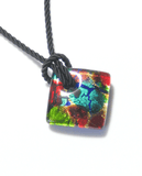 Colorful Murano Fused Glass Diamond Pendant Marked Murano JKC Murano