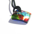 Colorful Murano Fused Glass Diamond Pendant Marked Murano - JKC Murano