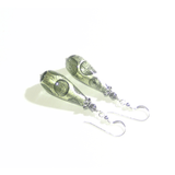 Murano Glass Gray Dot Teardrop Sterling Silver Earrings - JKC Murano