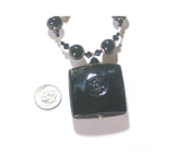 Murano Glass Black Square Pendant Gold Necklace JKC Murano