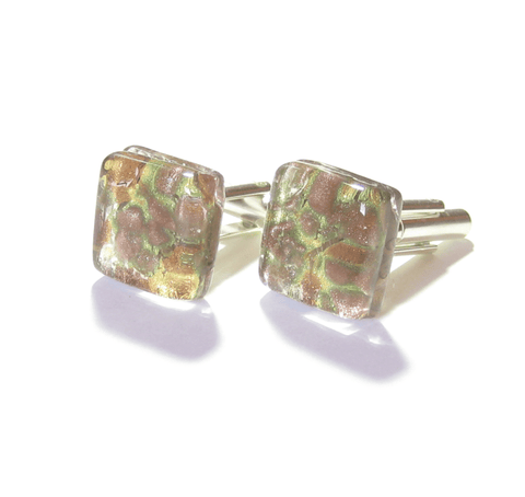 Murano Glass Copper Gold Square Cuff Links - JKC Murano