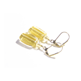 Murano Glass Clear Gold Rectangle Gold Earrings By JKC Murano - JKC Murano