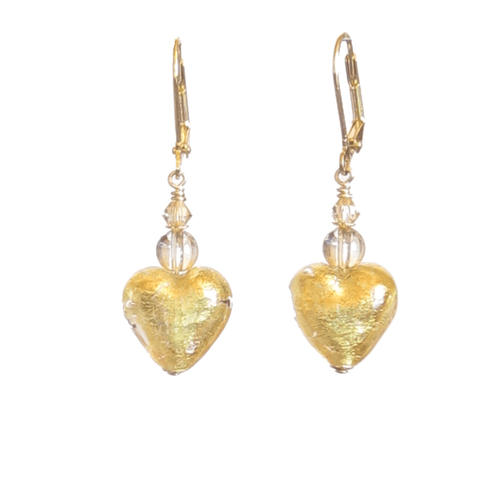 Murano Glass Heart Dangle Gold Earrings JKC Murano