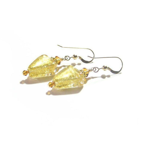 Murano Glass Topaz Gold Triangle Gold Earrings