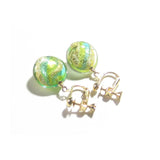 Murano Italian Glass Lime Green Aqua Gold Earrings, Clip Ons JKC Murano