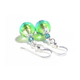 Murano Glass Aqua Green Crystal Silver Earrings, Venetian Glass Jewelry JKC Murano