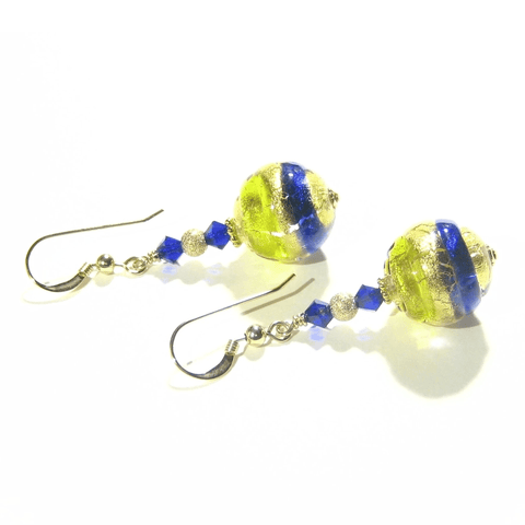Italian Murano Glass Cobalt Blue Lime Green Gold Earrings by JKC Murano