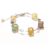 Murano Glass Autumn Colors Cube Gold Filled Bracelet JKC Murano