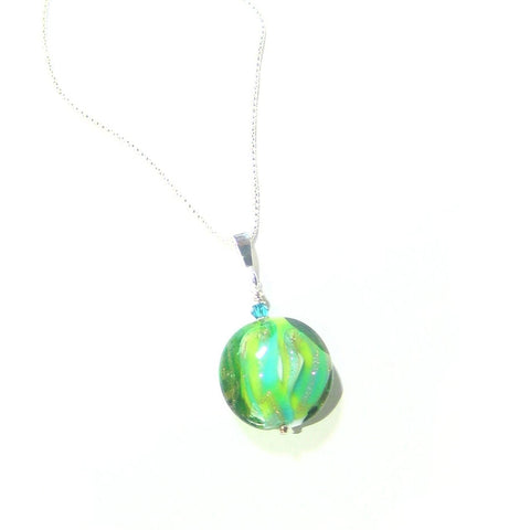 Murano Glass Colorful Aqua Green Disc Pendant - JKC Murano