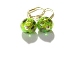 Murano Glass Green Ball Gold Earrings - JKC Murano