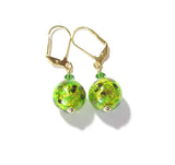 Murano Glass Green Ball Gold Earrings JKC Murano