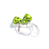 Murano Glass lime Green Leopard Heart Silver Earrings, Venetian Jewelry - JKC Murano