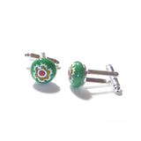 Colorful Green Murano Glass Millefiori Cuff Links, Italian Glass Jewelry - JKC Murano
