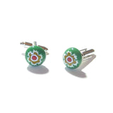 Colorful Green Murano Glass Millefiori Cuff Links, Italian Glass Jewelry JKC Murano